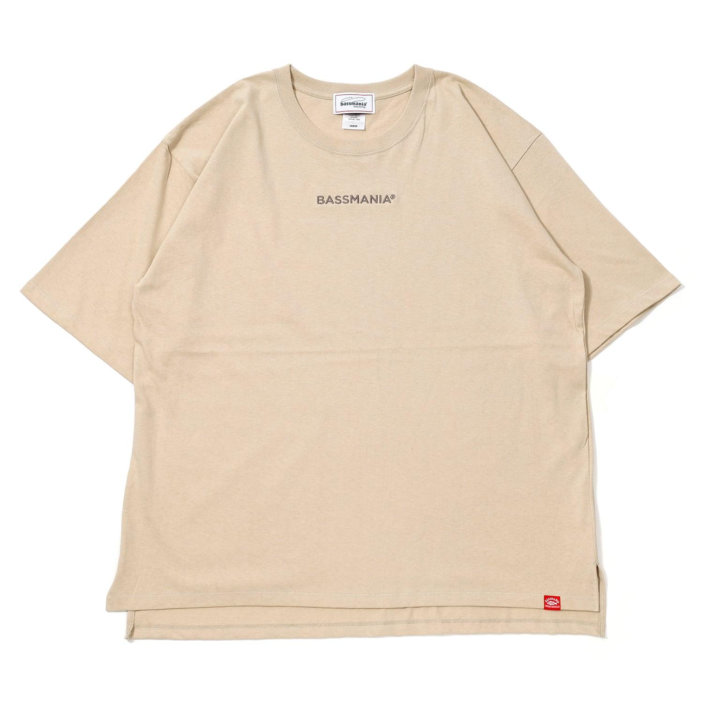 BASSMANIAロゴ刺繍ルーズシルエットTシャツ[BEG]