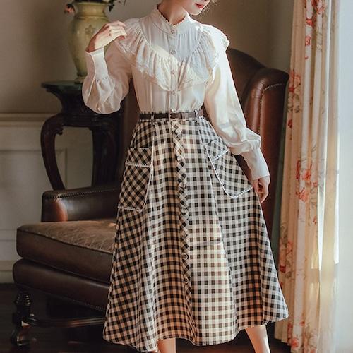 【2点セット】フリルブラウス+チェック柄Aラインスカート ・18503