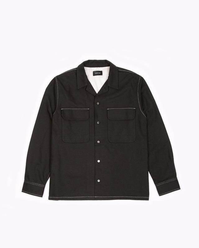 MAIDEN NOIR LS BOXY CONTRAST SHIRT - BLACK