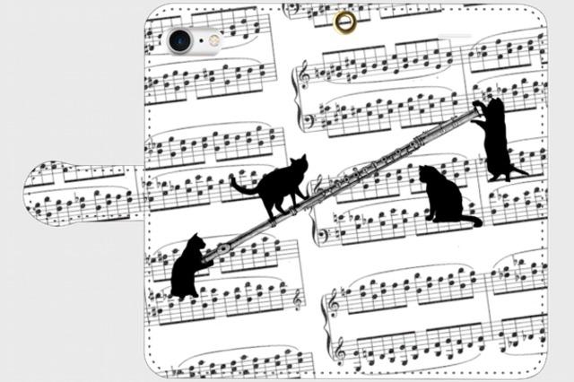 (iPhone用)フルートと黒猫の手帳型スマホケース