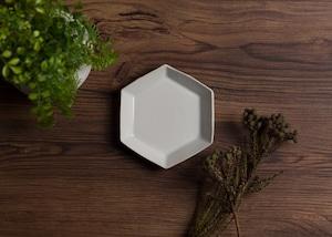 白釉 六角皿(小) 小皿 取皿/阿部 恵里