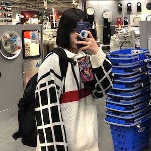 【トップス】韓国系長袖切り替えチェック柄POLOネックプルオーバーセーター42912826
