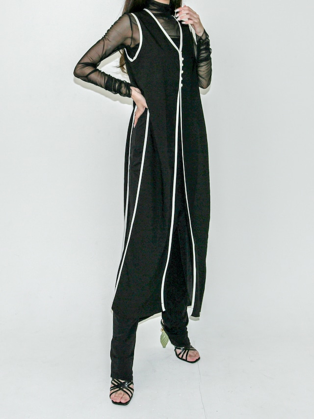 【WOMENS - 1 Size】PIPING LONGVEST ONEPIECE   / 2colors
