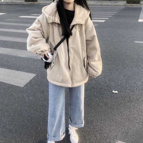 ボアパーカー もこもこ ジップアップ 韓国ファッション レディース ボア アウター ボアジャケット ボアブルゾン DTC-606610675474