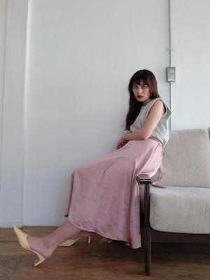 random slit satin skirt(classic rose)
