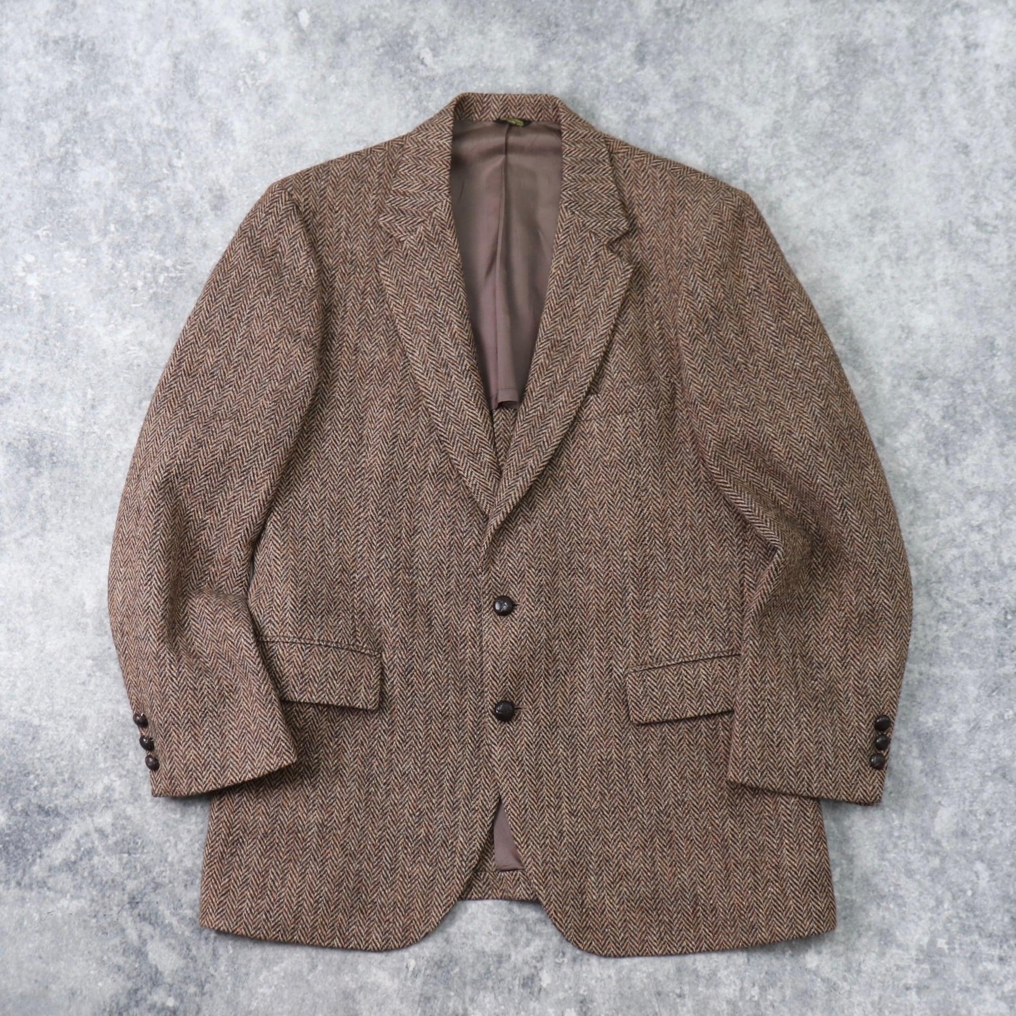 """70年代 """" Harris Tweed """" ハリスツイード テーラードジャケット ブラウン 古着 b204"""