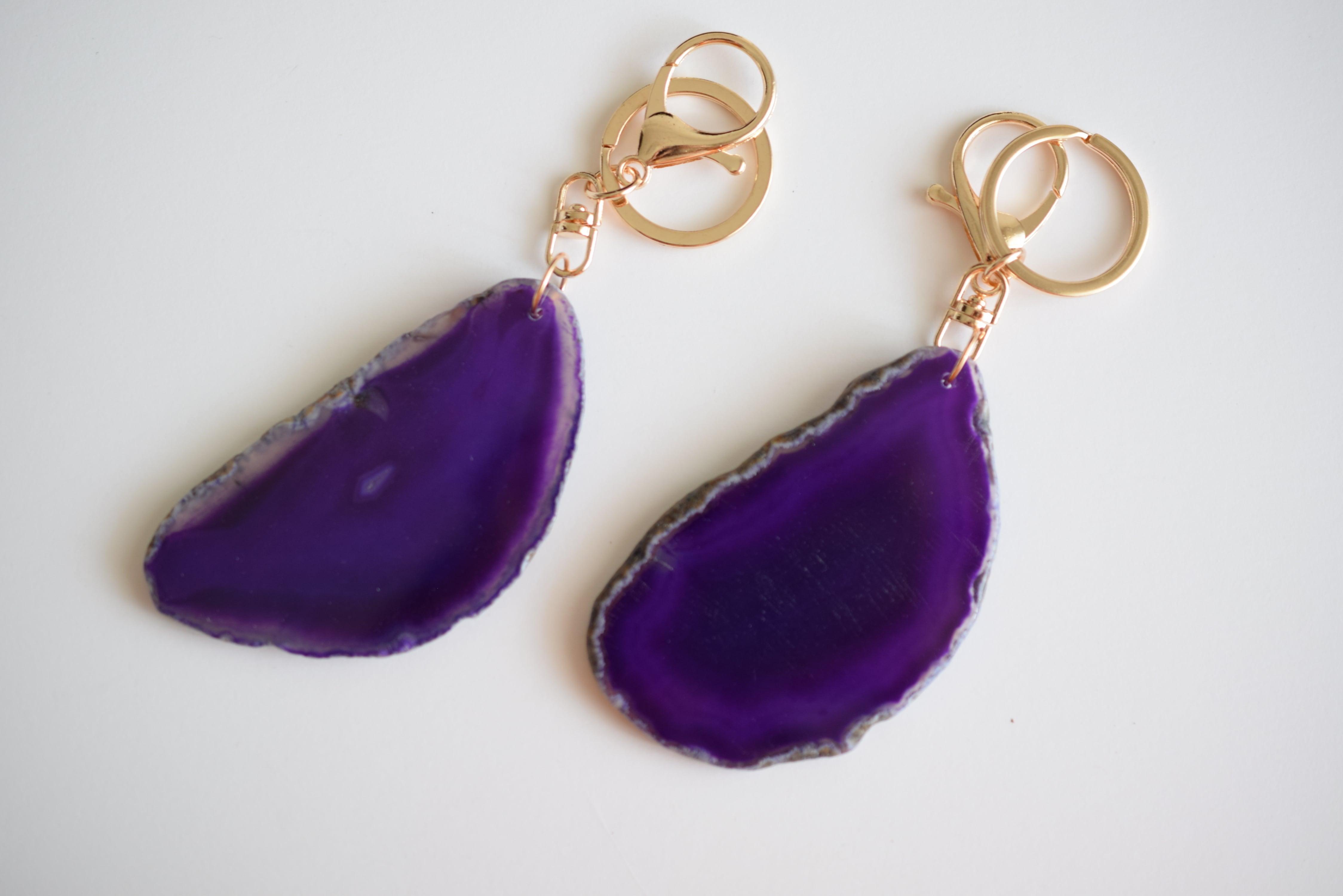 Agate slice key holder violet