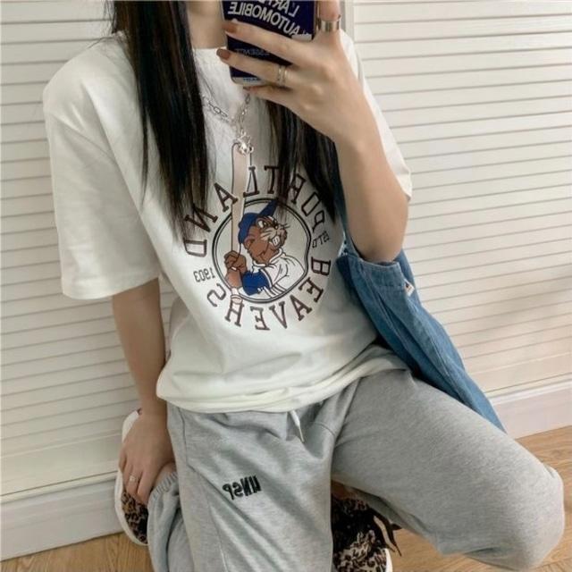 ユニークビーバープリントルーズTシャツ S3961