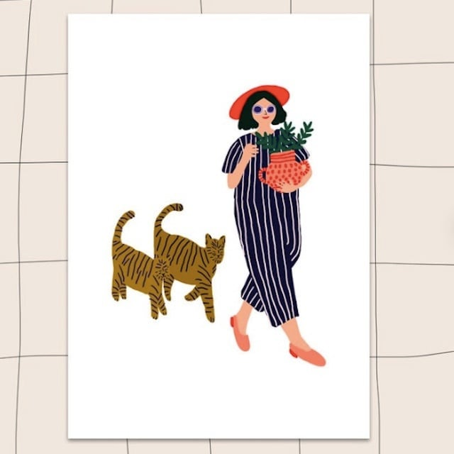 """Jennifer Bouron """"Girl walking with the cat"""" A5 print"""