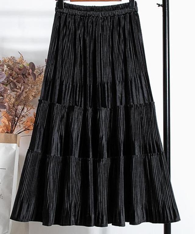 【予約販売】スウェードタイプ プリーツ フリル スカート・ブラック
