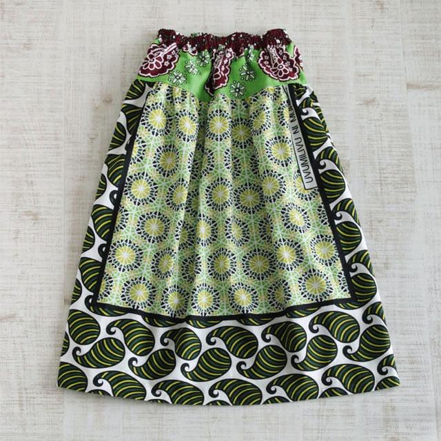 カンガのヨーク付きスカート アフリカ布スカート