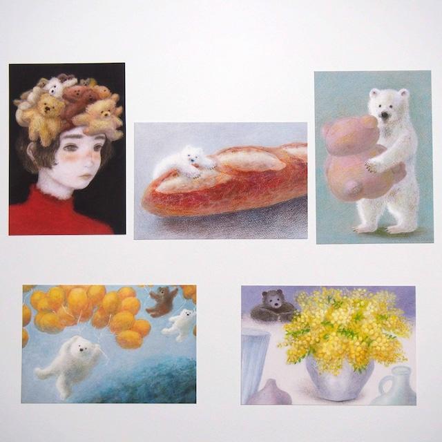 ポストカード5枚セット「くま」*ショップ内のポストカードと交換も可能*