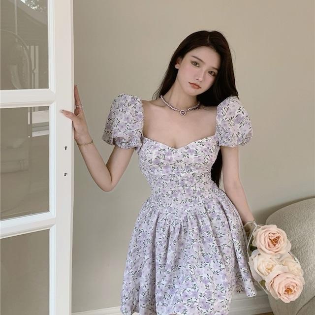 花柄 大人かわいい ガーリー キャバドレス ワンピース ミニドレス MY2025