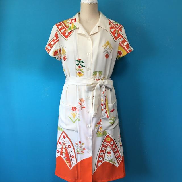 Vintage シャツワンピース 刺繍