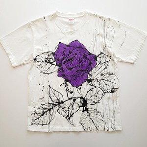 F's rose【 藤井清秀  Tシャツアート】パープル薔薇 L
