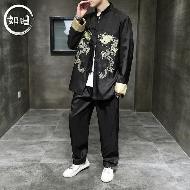 【如旧シリーズ】★セットアップ★ジャケット+ズボン メンズ 龍 改良唐装 刺繍 皺付きにくい 大きいサイズ 黒 赤