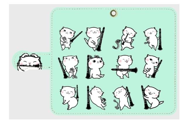 【特価】(Android Sサイズ)クラリネット猫にゃん手帳型スマホケース