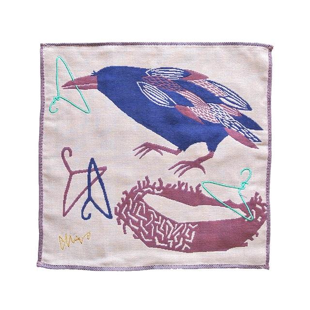 《鳥/カラス》 ハンカチ からす morita MiW ガーゼハンカチ 3重ガーゼ