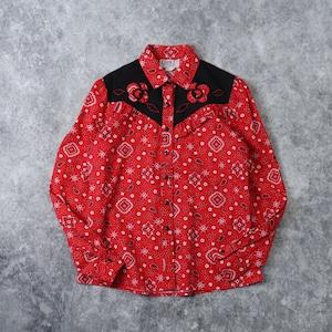 """80年代 USA製 """"Circlet"""" ヴィンテージ ウエスタンシャツ  バンダナ柄 フリル アメリカ古着 レディース レッド S〜M 80's   Usa Vintage Western Shirts"""