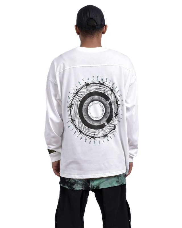 CIRCLE OVERSIZED  L/S TEE - WHITE/GREEN