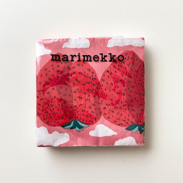 【marimekko】ランチサイズ ペーパーナプキン MANSIKKAVUORET ローズ 20枚入り