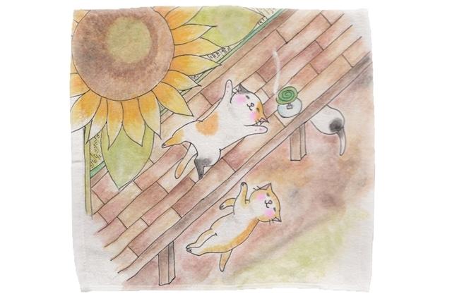 【即日出荷用】向日葵と猫のミニタオル