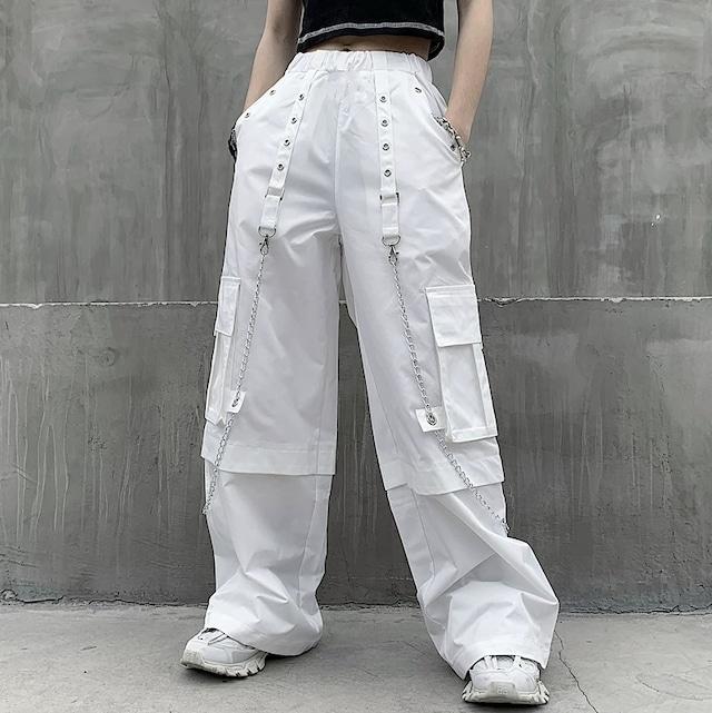 【ボトムス】無地ストリート系細見えポケット付きカジュアルパンツ42918290