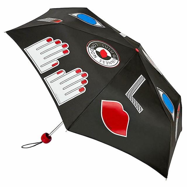 Lulu Guinness ルルギネス フルトン リップス ハンド アイ ミックス柄 スーパースリム 手開き折り畳み傘