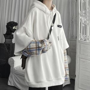 【トップス】話題沸騰中 ファッション チェック柄 配色 切り替え フード付き パーカー53362952
