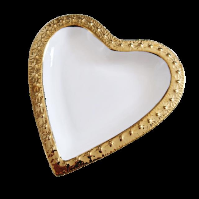 Gold line heart dish / ゴールドラインハートディッシュ