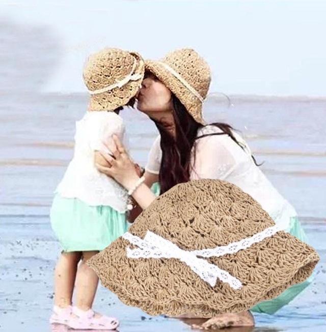 ママとお揃い♡ りぼん付き麦わら帽子セット