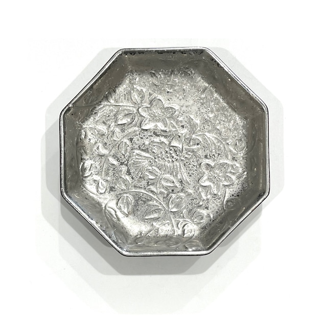 銀塗 小鳥 八角皿