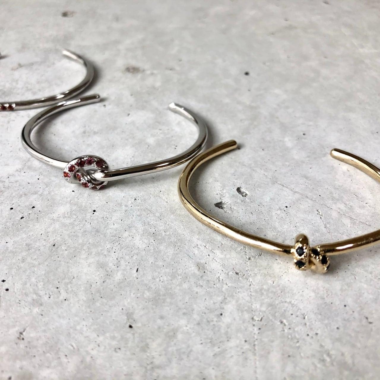 【LB-8BR】Knot bangle BK Sapphire ×G  Cinnamon garnet×S <再入荷>