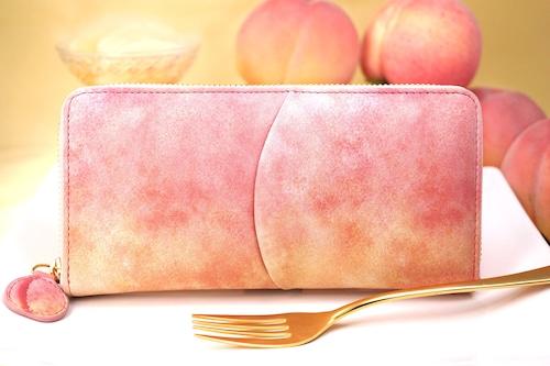 桃なラウンドファスナー長財布(牛革製)