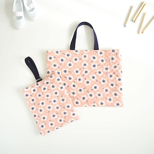 女の子のためのレッスンバッグ&上履き入れ/ピンク