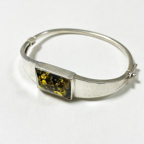 Vintage Baltic Amber 925 Silver Hinged Bracelet