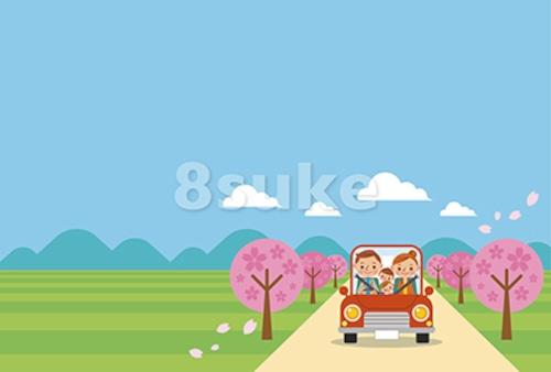 イラスト素材:ドライブを楽しむ家族/春・ヨコ・青空バック(ベクター・JPG)