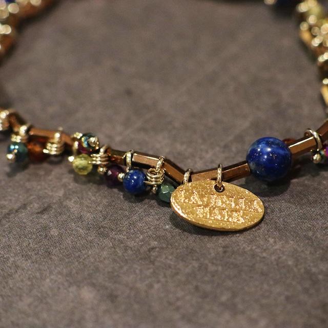 【COSMIC BLUE】ラピスラズリ×ブロンズカラーヘマタイト  〈フリンジ〉ブレスレット