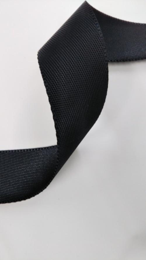 ナイロンテープ 耳付流綾織 25mm幅 黒 5m単位