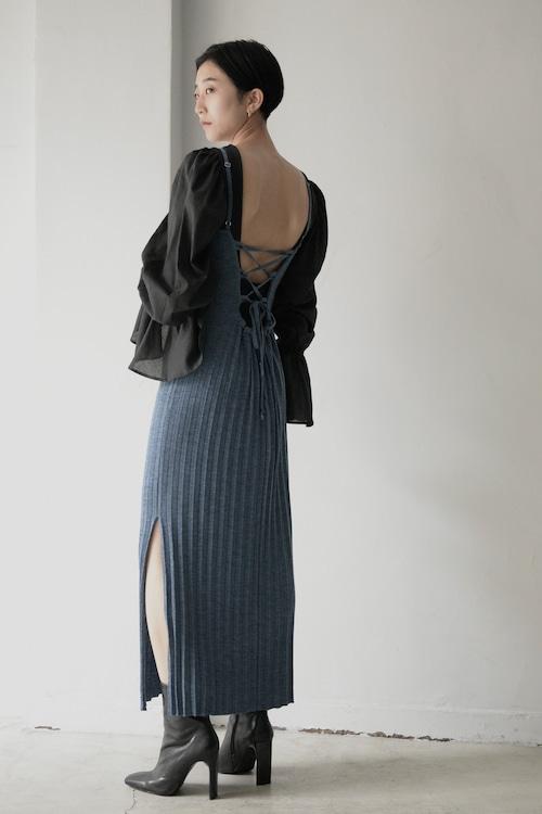 ROOM211 / Pleats knit Dress (jay blue)