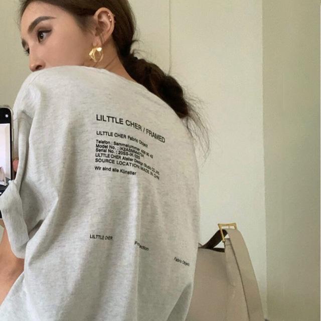 ビックシルエットTシャツ   ロゴ バックプリント 韓国服 オーバーサイズ