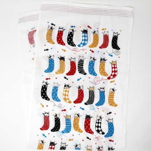 猫タオル手拭い(タオルてぬぐい)靴下猫