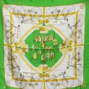 HERMES エルメス カレ 90[自転車]スカーフ グリーン シルク アクセサリー