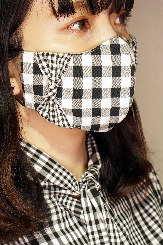 【セール】横顔美人!立体リボンマスク/ギンガムチェック(黒)