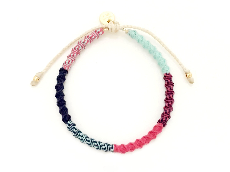 Check Patterned Bracelet/Tropical Pink[チェック柄ミサンガブレスレット]