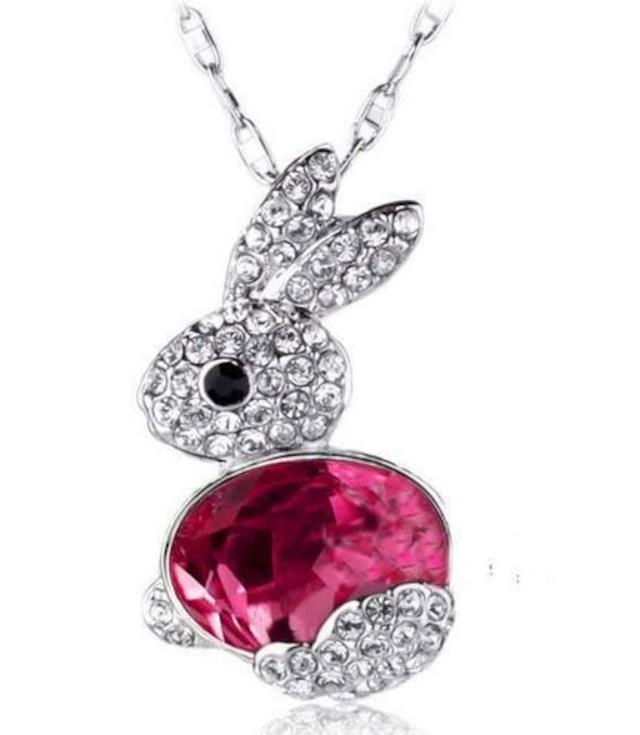 可愛いウサギモチーフのネックレス キラキララインストーン ピンク ブルー