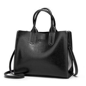 レザーハンドバッグビッグ女性バッグ高品質カジュアル女性バッグトランクトートスペインブランドショルダーバッグ White black
