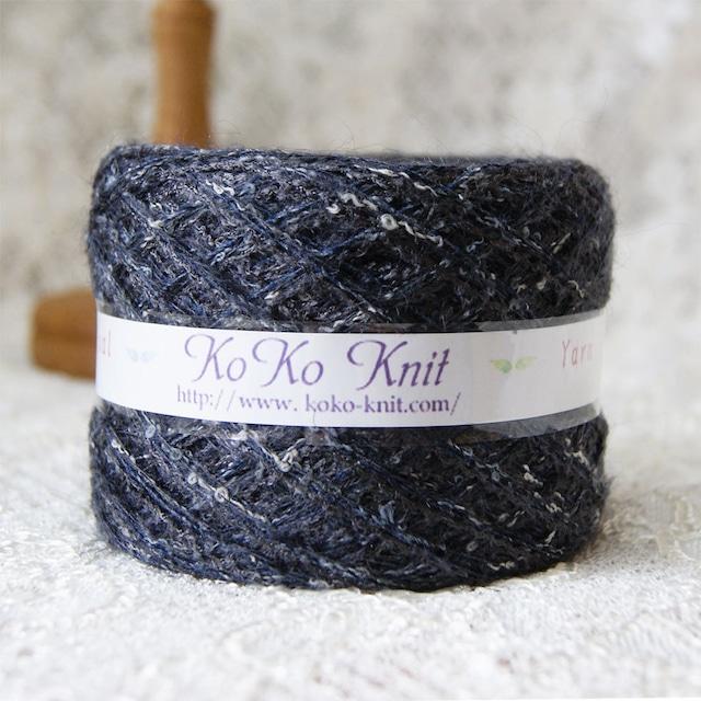 §koko§ for you~ 暗めなグレー  1玉60g以上  メンズにも モヘア フェザー 引き揃え 毛糸 オリジナル糸 ブラック