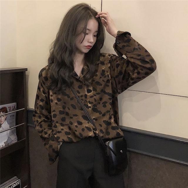【トップス】絶対流行ファッション長袖POLOネックシングルブレストヒョウ柄シャツ22618713