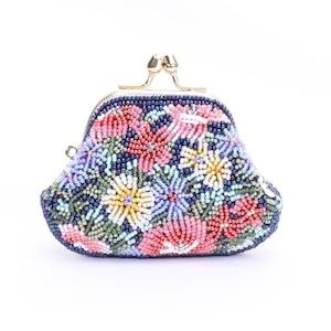 がまぐち財布111紺花紺柄ビーズ刺繍